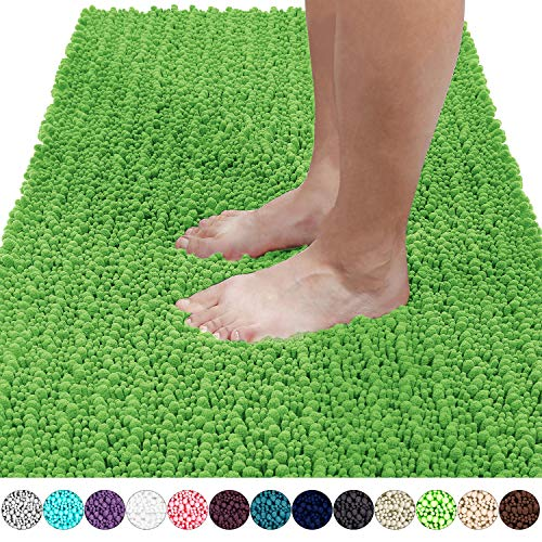 Yimobra Original Luxury Shaggy Bath Mat, Super Absorbent Water, Non-Slip, Machine-Washable, Soft and Cozy, Thick Modern for Bathroom Bedroom (44.1 X 24 Inches, Moss)