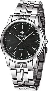 WWOOR Men's Quality Watch Luxury Analog Quartz Business Casual Stainless Steel Fashion Wristwatch Waterproof Watch for Men(Gold & Blue & Black)