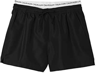 Calvin Klein Men's Short Double Waistband Swim Shorts Black, XXL