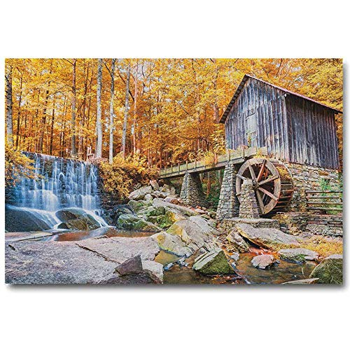 ScottDecor Waterfall Poster Fall Season Image of Historical Water Mill and Waterfall Outdoor Nature Art for him Yellow Brown L20 x H40 Inch