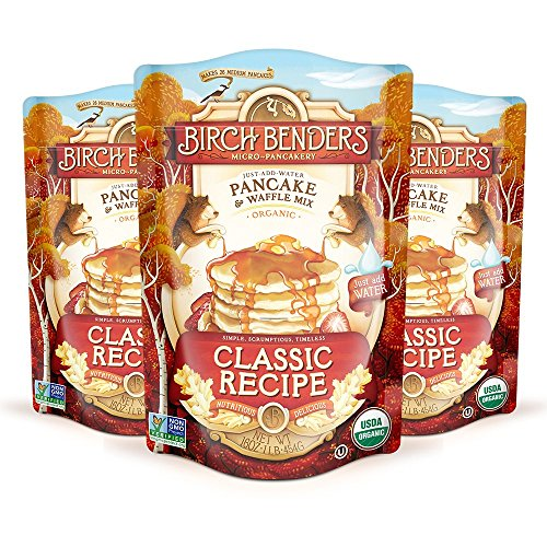 Birch Benders Organic Pancake and Waffle Mix Whole Grain NonGMO Just Add Water 16 Ounce Pack of 3