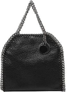 Fashion Hand-Woven Chain Bag Lychee PU Crossbody Bag Adjustable Chain Solid Color Black Handbag Soft Leather Shoulder Bag (Color : Black)