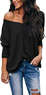 VYNCS Womens Casual Long Sleeve Button Down Henley Blouse Pullover Knit Loose Leisure Stylish Knit Sweaters Tops (18_Black, Medium)