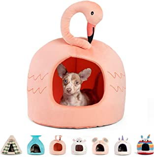Best Friends by Sheri Novelty Meow Hut - 360 Degrees Coverage for Comfort and Security, Removable, Washable, Durable, for Pets up to 15 lbs. (Flamingo)