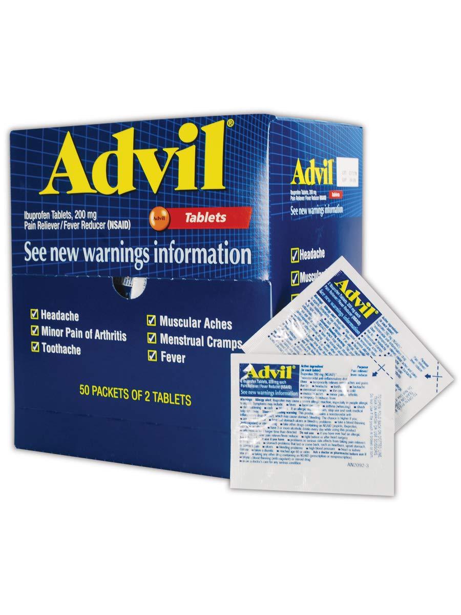 Advil WL0151-50 Ibuprofen Pain Relief Tablet, 200mg, Standard, B