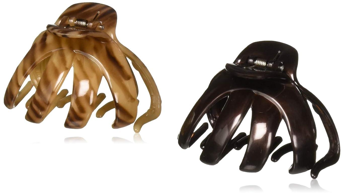 Scunci No-Slip Grip Octopus Clip, Black and Tortoise, 2-Count