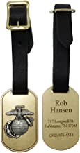 US Marine Corps Brass Luggage Tag with Pewter EGA Emblem and Personalization. Made in USA.