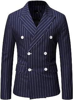 Chunmei Jacket Men Modern Long Sleeve Striped Double Breasted Lapel Collar Pockets Blazer Men Suit Jacket Trench Coat Outw...