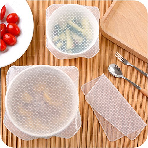 Silikon Stretch Deckel, 4Stück ECO wiederverwendbar Abdeckhaube BPA-frei erweiterbar Schüssel Seal Schutzhülle Aufbewahrung für Mikrowelle Backofen und Gefrierschrank zu Keep Food Fresh