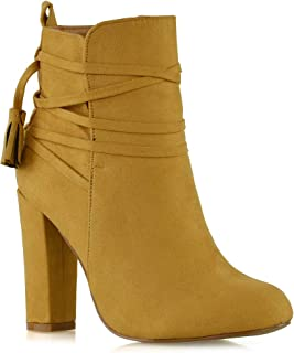 Womens High Heel Boots Round Toe Zip Laces Casual Day Or Night Wear Ankle Booties
