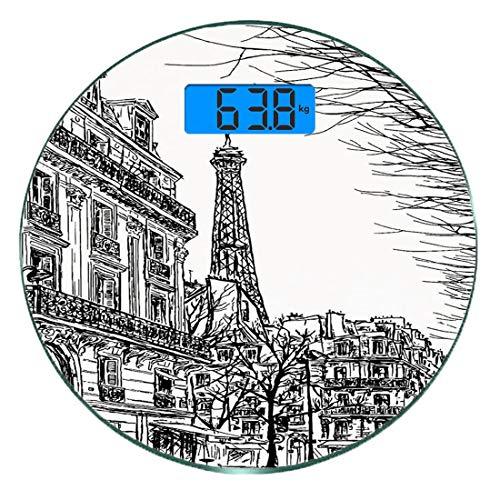 Digitale Präzisionswaage für das Körpergewicht Runde Paris Ultra dünne ausgeglichenes Glas-Badezimmerwaage-genaue Gewichts-Maße,Skizzieren Sie die Pariser Straße mit Bäumen und dem Architekturdruck de
