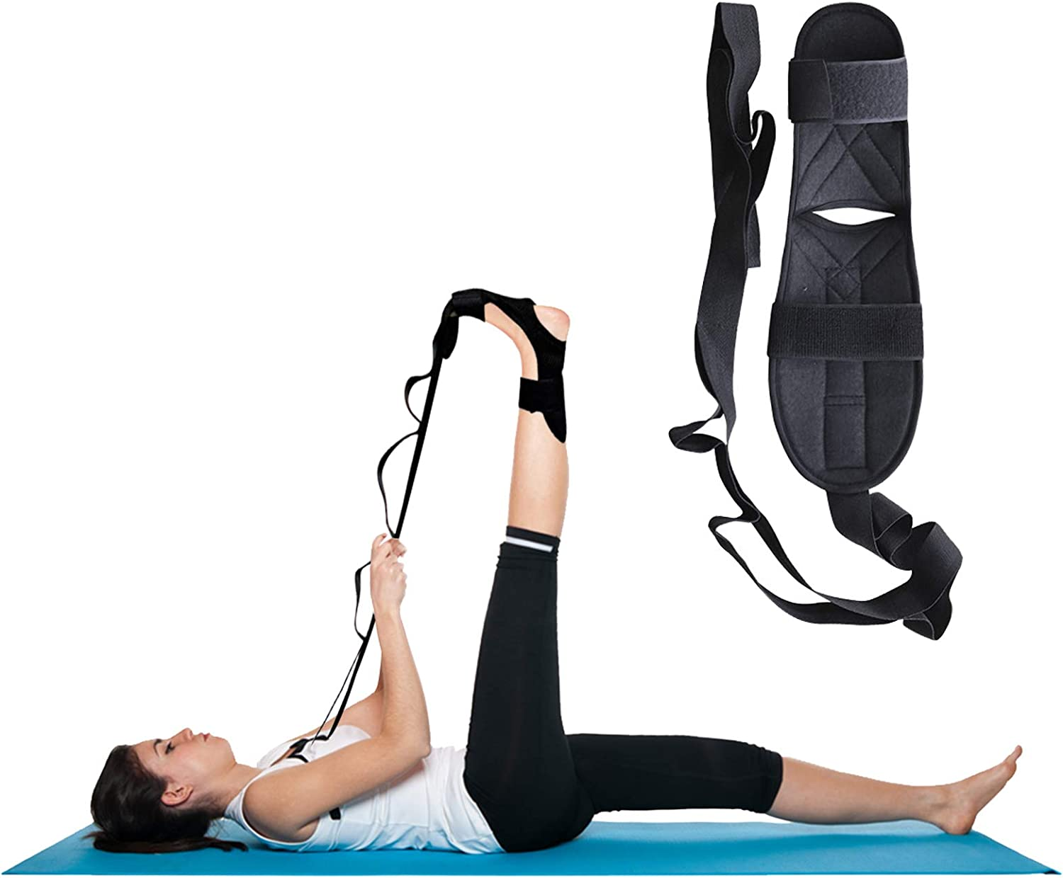 Geebuzz Fitness Yoga Stretching Strap Nonelastic Leg Foot Ligament Stretcher Flexibility Balance Stretch Strap Belt with Loops for Hamstring Plantar Fasciitis Rehabilitation Physical Therapy Dancers