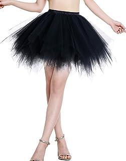 BeryLove Tutu Damenrock Tüllrock Kurz Ballet Tanzkleid Unterrock Cosplay Crinoline Rockabilly Petticoat für Karneval Partykleid