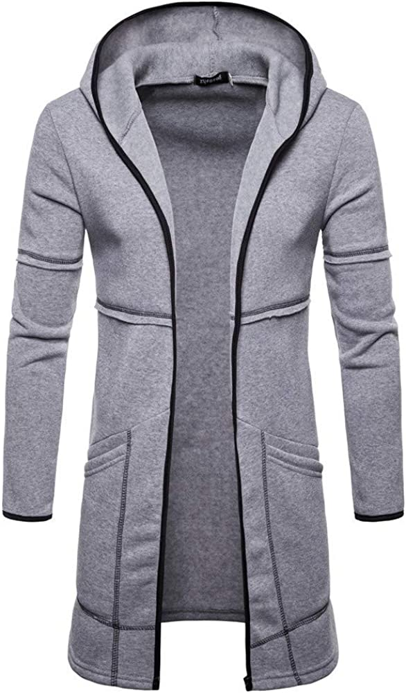 Mens Hoodies Casual Cotton Lightweight Trench Pea Jackets Mid Long Muscle Coats Outwear