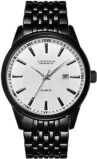 CURREN Men Sports Quartz Analog Display Watch with Date Window Waterproof Stainless Steel Band 8052