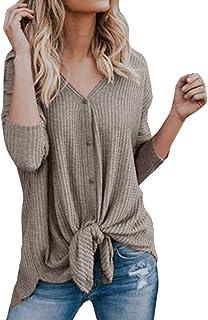 Womens Tops,Womens Waffle Knit Tunic Blouse Tie Knot Henley Tops Bat Wing Plain Shirts