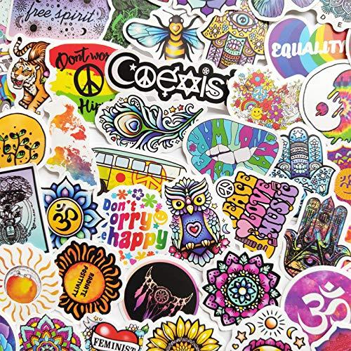 50Pcs Hippie Style Graffiti Stickers Dumb Film Cartoon Graffiti Cute Pattern Notes Suitcase Helmet Waterproof Stickers