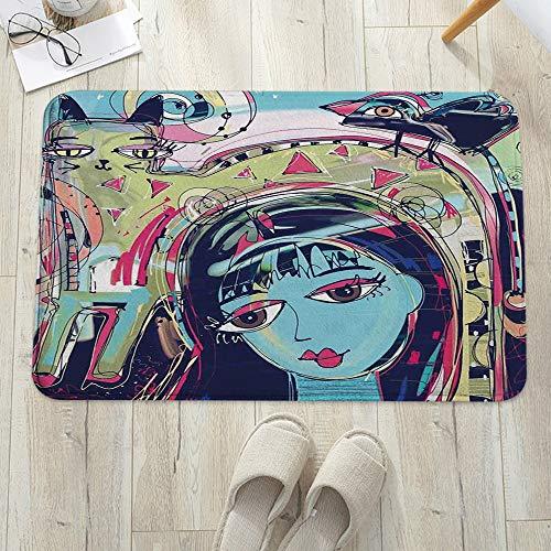 Alfombrilla de baño antideslizante, para baño o ducha,Arte moderno, estilo Funk Avatar Mujer con gato en la cabeza G, alfombra de suelo absorbente, para sala de estar, sofá, cojín, caucho, 60 x 100 cm