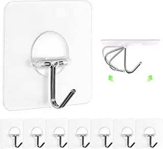 Best JINSHUNFA Wall Hooks 13lb(Max) Transparent Reusable Seamless Hooks,Waterproof and Oilproof,Bathroom Kitchen Heavy Duty Self Adhesive Hooks,8 Pack Review