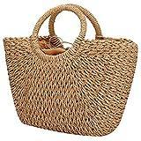 EROUGE Natural Chic Straw Bag Hand Woven Round Handle Handbags Retro Summer Beach Bag Brown