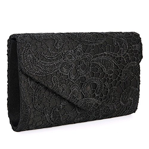 Borsa elegante borsa di sera pochette e clutch donna per Cerimonia (nero)