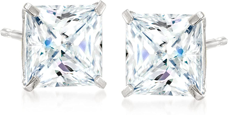 Ross-Simons 4.00 ct. t.w. Princess-Cut CZ Stud Earrings in 14kt White Gold