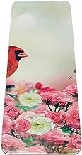 Yoga Mat Antislip TPE rood kardinaal in rozentuin Hoge dichtheid vulling om pijnlijke knieën te voorkomen, Perfect voor yo...