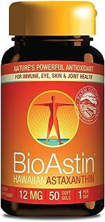 BioAstin Hawaiian Astaxanthin 12mg, 50 Count – Hawaiian Grown Premium Antioxidant..