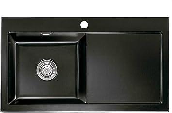 Systemceram Digitale 90 Nero Ceramica Lavello Lavandino Nero Lavello Cucina Lavello Da Incasso Amazon It Fai Da Te