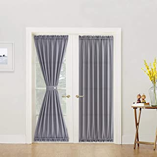 Semi Sheer French Door Panels Privacy Casual Weave Textured French Door Curtains 72 inch Length Tieback Included, Two Panels, Grey