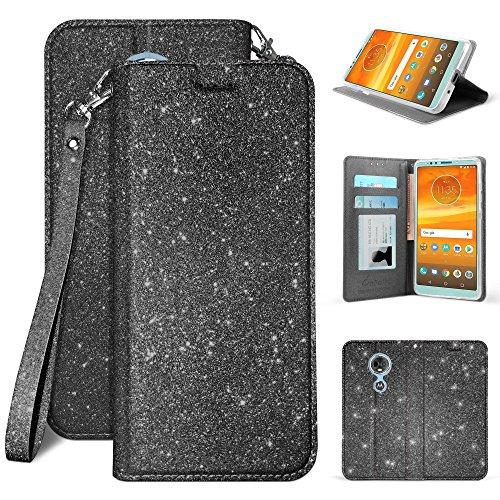 For Motorola MOTO E5 PLAY, MOTO E5 CRUISE 5.2' 2018 Premium Sparkle Bling Glitter Folio Wallet with Wrist Strap & Magnetic Closure [Free Emoji Keychain!] (Black)
