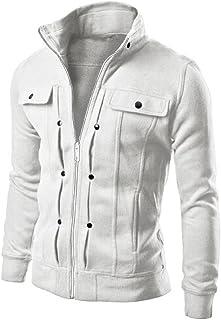 BELLA HXR Giacca da Uomo in Jeans Giubbotto Jeans Uomo Invernale Risvolto Cappotto Classico Multi-Pocket Casual Denim Jacket Moda Manica Lunga Giacche