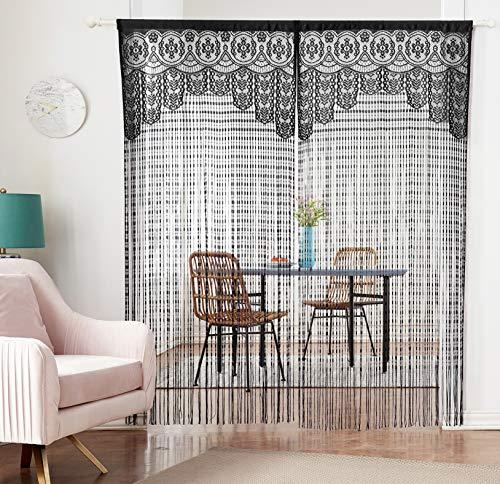 HSYLYM Lace Door Srting Curtain Warm Sheer Curtains Flat Tassel Ribbon Curtain Window Panel Room Divider Wall Decorations,Black,90x200cm(35x79inch)