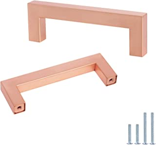 5Pack-Rose Gold Square Bar Cabinet Pull Drawer Handle Stainless Steel Modern Hardware for Kitchen and Bathroom Cabinets Cu...