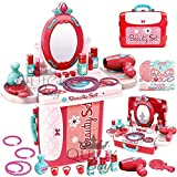 Quick Buy™ Girls Pretend Play Makeup Set Dressing Table Toy Play Makeup Set Role Play Jewelry Make Up Kit with Handy Case Gift for Little Girls Toddlers Children Ages 3+ (21 Pieces)