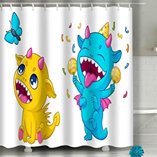 N/A Shower Curtain 60x72 Inch Fabric with Hooks Bath Curtain Waterproof, Cartoon Monsters Playing Funny Happy Cute Dinosaurs Creatures Play Kid Birthday Greeting