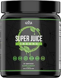 GIVia Super Juice Greens Powder - Plant Based Natural Superfood Blend - Spirulina, Turmeric, Lemon, Wheatgrass, Ashwagandha, Barley, Matcha Green Tea - Boost Energy, Immune System, Cleanse and Calm