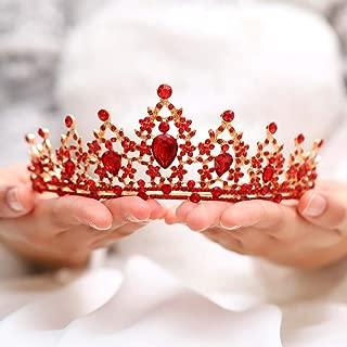 Jovono Bride Wedding Crowns Red Bridal Crystal Crown Tiara for Women and Girls