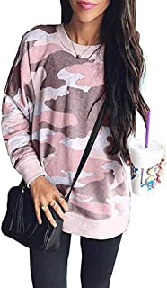 Women Crewneck Sweatshirt, Camo Army Long Sleeve Shirt Pullover Tunic Blouse Top Plus Size Floral Printed