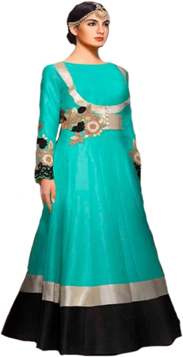 bluee Party wear Anarkali Salwar Kameez Suit Dupatta Ceremony Punjabi