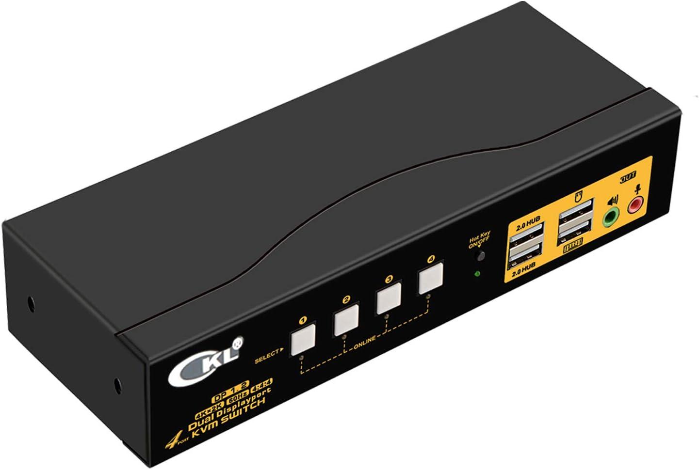 CKL KVM Switch Dual Monitor DisplayPort 4 Port 4K 60Hz 4:4:4, 4x2 DP KVM Switch with Audio and USB 2.0 HUBs (CKL-642DP)