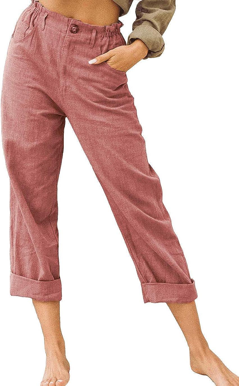 Haellun Women's Casual Linen Relaxed-Fit Wide Leg Back Elastic High Waist Pants
