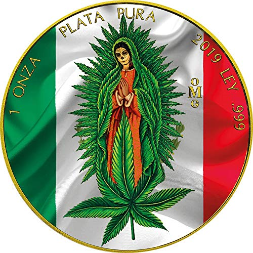 Power Coin Santa Muerte Cannabis Libertad 1 Oz Moneda Plata Mexico 2019