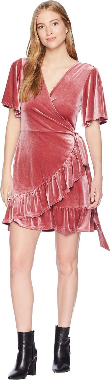 1.STATE Womens Velvet Flutter Sleeve Wrap Front Dress