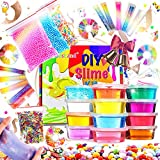 KiddosLand Crystal Slime Kit for Girls Boys,Slime Making kit for Kids DIY , Party Favors,Stress Relief ,Slime Supplies Include Glitter Jars,Foam Beads,Fruit Slices, Fishbowl Beads,Slimes Ages 3+