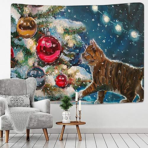 JXWR Arte navideño Tapiz de Pared Navidad y Gato Animales navideños Fiesta de Año Nuevo Decoración de Alces Manta de Yoga 150x100cm