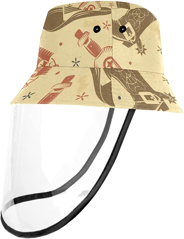 Unisex Cowboy Cactus Pattern Printed Bucket Hat Summer Travel Outdoor Fisherman Cap for Women Men Teens