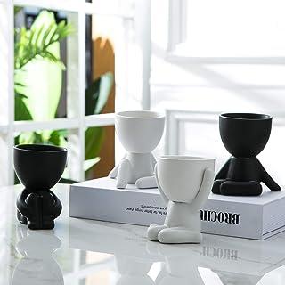 Tenforie Humanoid Ceramic Flower Pot Modern Style Vase Cute Fleshy Flower Vase 4 Pack Arrangement Vase Mini Ceramic Plants...