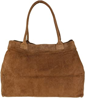 Girly Handbags - Borsa a tracolla espandibile in vera pelle scamosciata italiana