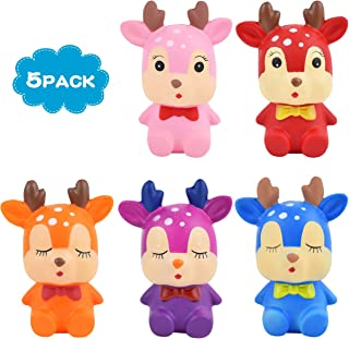 Mixi 5pcs Slow Rising Animal Jumbo Squishies Squishy Toys, Kawaii Deer Squishy Toys, Stress Relief Squeeze Toys Party Favors for Kids & Adults
